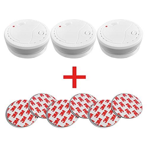 3x Siter GS503 Rauchmelder mit 85dB Alarm inkl. Magnethalterung und 1 Jahresbatterie....