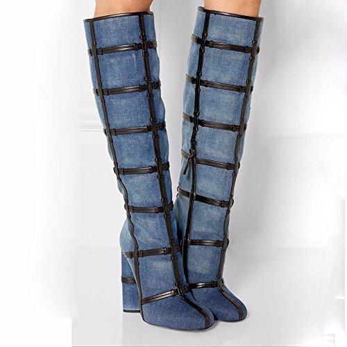 L@YC Scarpe Da Donna Da Cowboy In Pelle Moda Inverno Stivali Slouch Chunky Heel Stivali alti al Ginocchio Per Casual Blu Scuro Blue