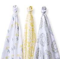 SwaddleDesigns Marquisette Swaddle Blankets, Premium Cotton Muslin, SwaddleLite Set of 3, Yellow Lush