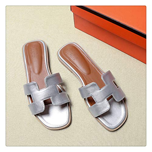 Big Size 43 Women Summer Sandals Luxury Brand Ladies Shoes Woman Quality Flat Shoes 10 Colors Beach Vacation flip&Flops Slippers Silver 7.5