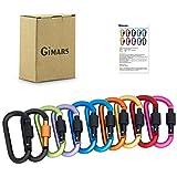 GIMARS 10 verschieden farbigen Karabiner Schlüsselanhänger Karabinerhaken mit Schraubverschluss