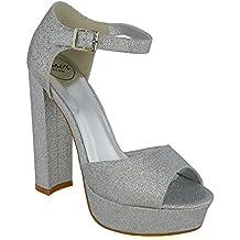 ESSEX GLAM Sintético Sandalias de punta abierta con tacón alto, plataforma y tira al tobillo para fiesta