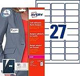 Avery - L4784-20 - 540 badges adhésifs en textile - 63,5x29,6 mm - Blanc