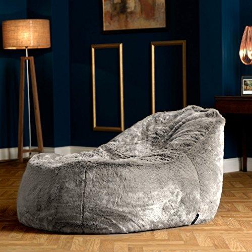 Puf de piel sintética Ottawa Dream Lounger de ICON – GRIS - Puf gigante de piel sintética (color lobo ártico)