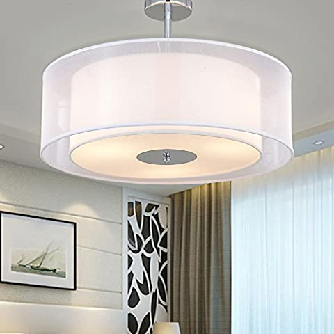 SPARKSOR Ceiling Light in Chrome matt, Fabric Drum Shade Gray