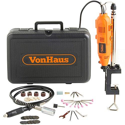 VonHaus MultiHerramienta Rotativa Oscilante 135 W con 40 piezas - Soporte, Eje Flexible y Juego de Accesorios - Compatible con DREMEL