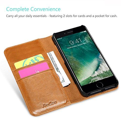 Apple iPhone 8 Plus Echtes Leder Hülle, ProCase Vintage Geldbörse Falten Flip Case mit Kickstand und mehrere Kartensteckplätze Magnetverschluss Schutzhülle für Apple iPhone 8 Plus 2017 / iPhone 7 Plus Braun