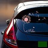 ilka parey wandtattoo welt® Autotattoo Heckscheibenaufkleber Fahrzeug Aufkleber Sticker Baby Name Pusteblume M1864 - ausgewählte Farbe: *dunkelgrün* ausgewählte Größe: *L - 32cm breit x 30cm hoch*