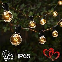 Elegear Catena Luminosa Esterno 30+3 Filo Luci Professionali IP65 Impermeabile G40 Luci Giardino per Festa, Matrimonio, Party Decorazioni di Nozze