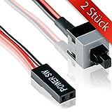 2 STÜCK – An / Aus Schalter Mainboard | 45 cm Kabel | Premium Qualität |2 Pin | PC Power Button Anschluss für Motherboard Stromschalter Energie Button Reset Computer Intern- MOVOJA