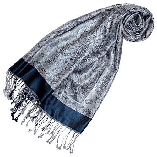 Lorenzo Cana Luxus Pashmina Damen Schal Schaltuch jacquard gewebt 100% Seide 70 x 190 cm Paisley Muster Seidenschal Seidentuch Seidenpashmina harmonische Farben 78173 -