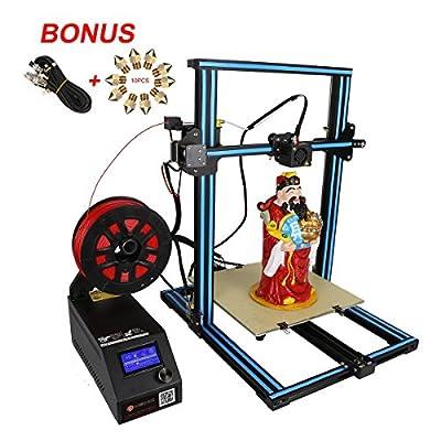 Wisamic Creality 3D Drucker CR-10S Prusa I3 mit Dual Z Axis Leading Screws und Filament Detector Große Fläche 300x300x400mm,mit Verlängerungskabel, 10 Stück Nozzels