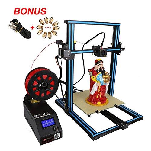 Wisamic Creality CR-10S Imprimante 3D Prusa I3 avec câble de rallonge de 1 m, 10 buses PCS (0,2 mm, 0,4 mm, 0,6 mm, 0,8 mm, 1,0 mm), détecteur de vis et filament, axe Z, grande surface