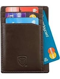 RFID protégé - bourse de portefeuille de cuir pour les pantalons pour hommes ou veste poches Porte-cartes de crédit - TAP & GO. fonctionnalité - VERITABLE CUIR BUFFALO (63SNBBR)