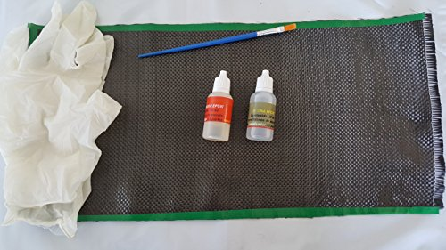 allgangas Kit REPARACION DE Fibra DE Carbono 40X20CMS. (Pala DE Padel, Bicicletas, Surf. CAÑA DE Pescar) Carbon Repair Kit + Resin and Gloves