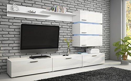 """Moderne TV Wohnwand """"Ergo"""" in Weiß hochglanz. Schöner Wohnzimmer-Schrank mit Side-Board aus stabilem MDF Holz. Anbauwand inkl. LED Beleuchtung in Top Qualität Der Blickfang in jedem Wohnzimmer."""