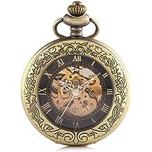 Alienwork Retro orologio da tasca meccanico Scheletro automatico inciso Metallo nero bronzo marrone W915-03