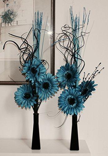 Enlace productos juego de 2jarrones de cristal con flores artificial