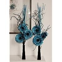 Enlace productos juego de 2jarrones de cristal con flores artificiales y plantas azul turquesa azul
