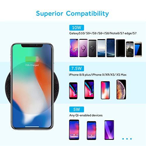 Lecone Caricatore Wireless Ricarica rapido da 10W Caricabatterie Wireless Qi Certificato Compatibile con iPhone XS Max/XR/XS/X / 8/8 Plus, Samsung Galaxy S10 / S9 / S9+ / S8 / S8+ e Altro, Nero