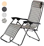 Charles Jacobs Deluxe Zero Gravity Foldable Reclining Chair Outdoor Garden Patio Furniture Folding Sun Lounger with Recliner Lock and Durable Textoline (Green)