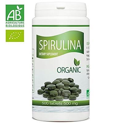 Organic Spirulina - 500 mg per tablet - 500 Tablets from GPH