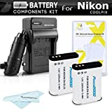 ButterflyPhoto 2 Pack Battery And Charger Kit For Nikon COOLPIX P900 P610 P600 B700 Digital Camera Includes 2 Extended Replacement (2200Mah) Ac/Dc Rapid Travel Charger & Screen Protectors