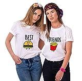 Daisy for U Best Friends T-Shirt für 2 Mädchen mit Aufdruck Burger und Pommes Lustige Passende Kurzarm Damen von Weiß - Pommes-M-1 Stücke