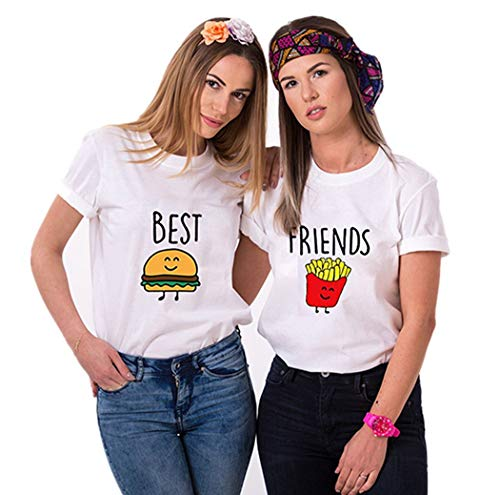 Freund Lustige T-shirt (Daisy for U Best Friends T-Shirt für 2 Mädchen mit Aufdruck Burger und Pommes Lustige Passende Kurzarm Damen von Weiß - Pommes-M-1 Stücke)