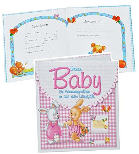 Erinnerungsalbum Baby - an das erste Lebensjahr - für Mädchen - erste Fotos - Gebunden - Babyalbum Kinderalbum - rosa pink Babys Neugeborene zur Geburt / Baby-Album
