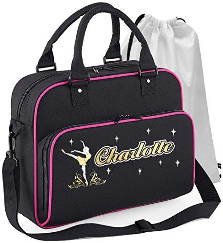 Ballet Dancer - On Pointe - Schwarz + Rosa Pink - Personalisierte Tanztasche & Schuh Tasche Dance Bags MusicaliTee (Reißverschluss Double Umhängetasche Top)