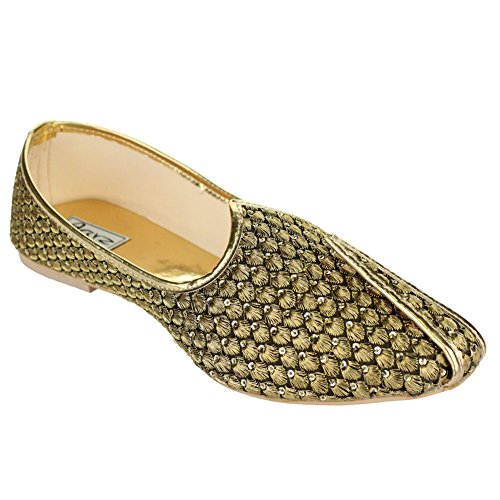 3de9537b2974 Aarz Mens Gents Traditional Handmade Indian Pumps Slip On Khussa Groom  Wedding Shoes Size (Gold