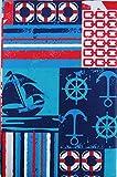 SummerFun (Elrene Barca/Nautica Patchwork Vinyl Flannel della tovaglia Rettangolare (132,1x 177,8cm)