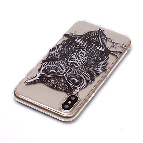 Custodia iphone X/ iphone 10 - Cover iphone X/ iphone 10 - Cozy Hut Case per iphone X/ iphone 10 [Ultra-Thin] Air Skin [Soft Clear] Premium Semi-transparent Super Lightweight, Custodia per iphone X/ i Gufo staring