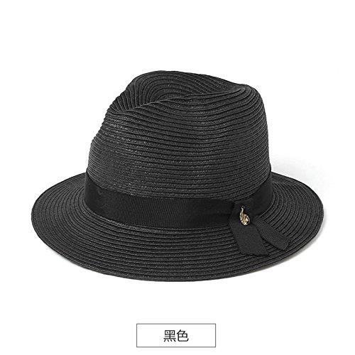 LLZTYM Été/Chapeau De Paille/Dame/Suncap/Plage/Vacances Chapeau/Cadeau/Chapellerie/Chapeau black