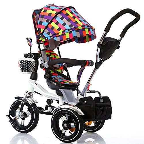 Kinderfahrräder Guo Shop- Kinder Dreirad Kinder Fahrrad 1-3-6 Jahre alte Kinder Falten 3-Foam-Wheel Kinderwagen drehbarer Sitz (Farbe : Color 3)