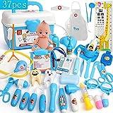 Yansion 37 Stücke Doktor Kit Spielzeug mit Tragetasche Zahnarzt Arzt Set Rollenspiel Spiel Kit Spielzeug Lernen Arzt Set Ressourcen Geschenk für Kinder(Blau)