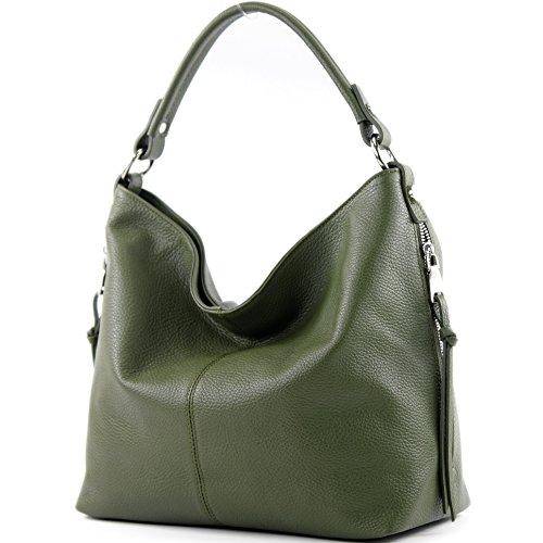 modamoda de - T160 - ital Shopper Schultertasche Groß Leder, Farbe:Olivgrün -