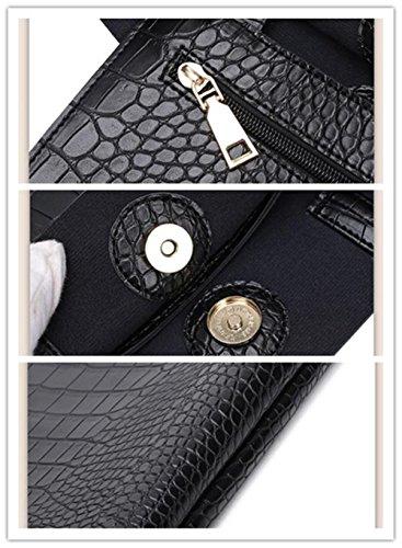 LDMB Damen-handtaschen Große Kapazitäts-PU-lederne Frauen-Handtaschen-feste Farben-magnetische Verschluss-Schulter-Beutel-Einkaufstasche Black