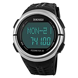 SKMEI 1058BLK Healtmeter Digital Sports Watch with Peodmeter , Pulse Rate , Calories Count - For Men - Black Dial