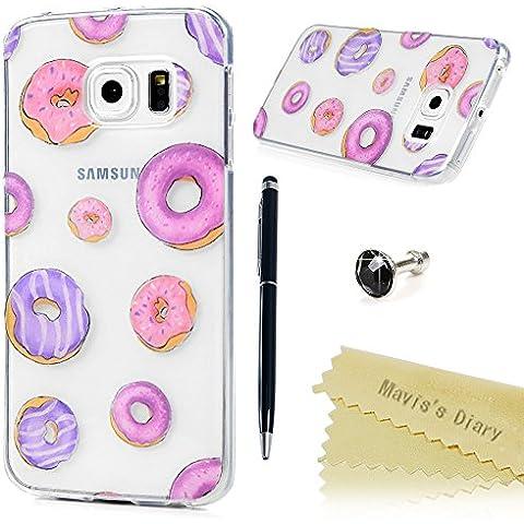 Samsung Galaxy S6 Edge Funda Silicona Gel TPU Transparente Ultra Slim - Mavis's Diary Carcasa Case Bumper Shock-Absorción y Anti-Arañazos - círculos coloreados