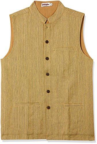 Fabindia Men's Cotton Jacket (1066087_Mustard_36)