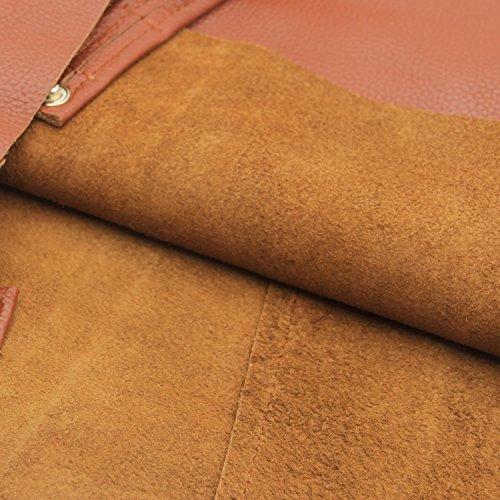 Damero delle donne Vintage spalla del sacchetto con fodera rimovibile (Grande, Marrone) marrone