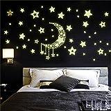 Hacoly Leuchtsticker Wandaufkleber Sterne Mond Leuchtsterne Selbstklebend Aufkleber Kinderzimmer Wanddeko Leuchtaufkleber Schlafzimmer Fluoreszierend Wandsticker Wasserdicht Leuchtpunkte Wandtattoo