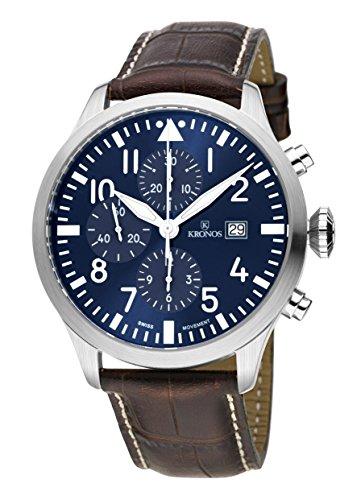 KRONOS - Pilot Automatic Chronograph Blue 991.65 - Reloj de Caballero automático, Correa de Piel marrón...