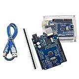 ALLEU UNO R3 Hauptplatine ATmega328P CH340 U6011 mit Gehäuse und USB-Kabel Kompatibel zu Arduino UNO R3