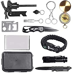 Unigear Kit De Supervivencia 13 En 1 Equipo de Emergencia Multifunción SOS Autoayuda Autoprotección Senderismo Camping Excursionismo