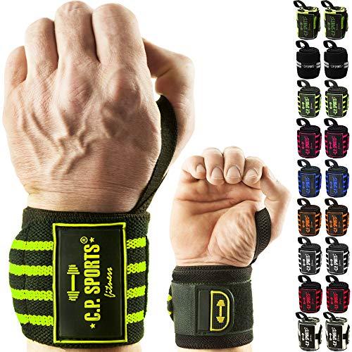 C.P. Sports Handgelenk Bandagen Fitness DAS ORIGINAL, Bänder, Bandagen Bodybuilding, Handgelenkbandage, Crossfit, Kraftsports, Männer, Frauen, 2 Jahre Gewährleistung (Camouflage-Grün) -