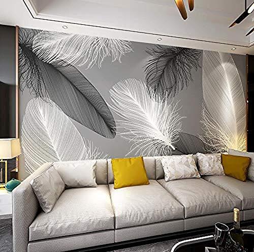 Papel pintado Mural no tejido XXL Mural nórdico pluma ambiente sencillo sofá...