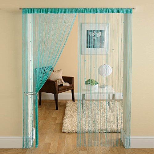 Cubix Tür-Vorhang Fadenvorhang mit Perlen, Fransenabschluss, Blaugrün Wasserblau, für Fenster oder Tür, 90x 200cm (Fenster Vorhang Mit Perlen)